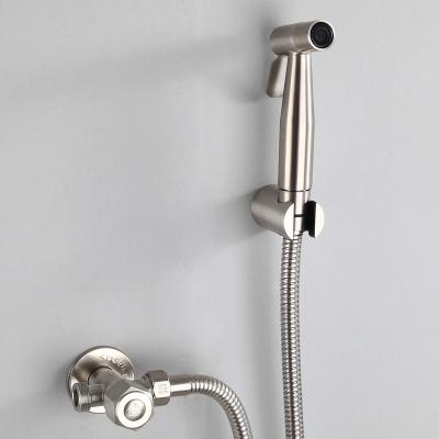 不銹鋼淋浴馬桶伴侶坐便器噴頭噴水沖洗器增壓私處婦洗器手持 噴頭+2米螺旋管+掛座 (送免釘膠)