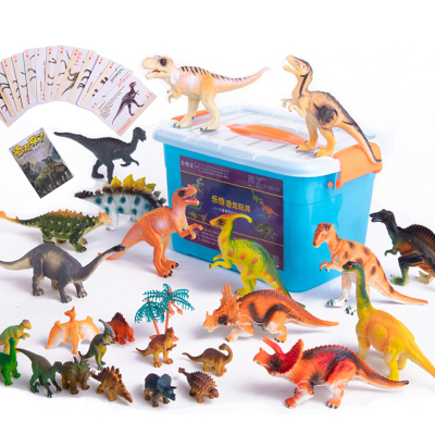 LERDER 樂締 兒童恐龍塑料玩具套裝侏羅紀公園動物模型霸王龍 2歲以上禮物 24個恐龍+1個大霸王龍+6個樹+恐龍書
