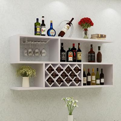 墻上酒柜壁掛式創意簡約紅酒架客廳實木格子墻壁裝飾置物架拼接 人造板簡約現代