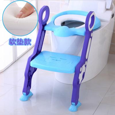 Amyoung大號折疊兒童馬桶梯男女寶寶坐便器pp便盆小孩馬桶圈凳兒童馬桶蓋坐便圈 藍色(升級軟墊款)