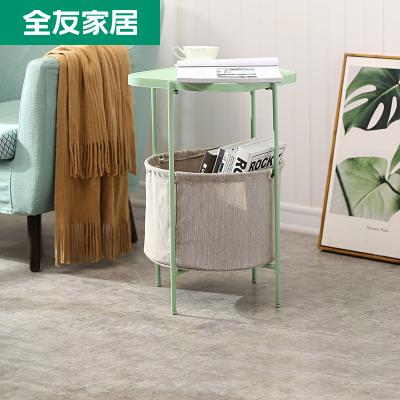 【休閑家具】全友家居邊幾客廳小茶幾簡約迷你方形沙發角幾儲物小桌子 DX119009