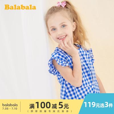 巴拉巴拉童裝女童襯衫短袖洋氣兒童襯衣夏季2020新款小童寶寶純棉