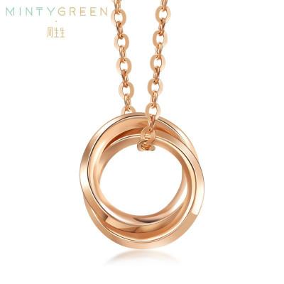 周生生(CHOW SANG SANG)18K紅色黃金薄荷系列雙圓環項鏈K金項鏈91873N