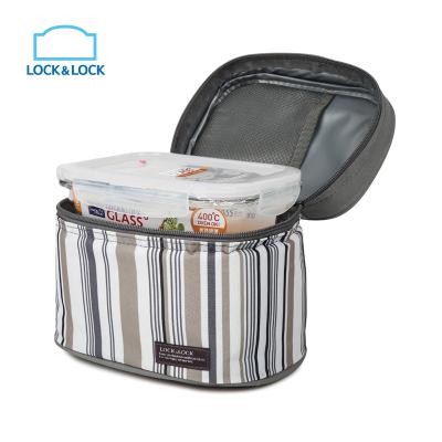 乐扣乐扣(lock&lock)玻璃保鲜盒 饭盒便当包 便当包两件套740ml*2 LLG429S901 不保温