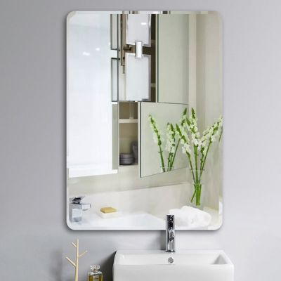 衛生間浴室貼墻鏡子化妝鏡壁掛粘貼免打孔廁所洗手間臺盆鏡掛鏡弧威(HUWEI)
