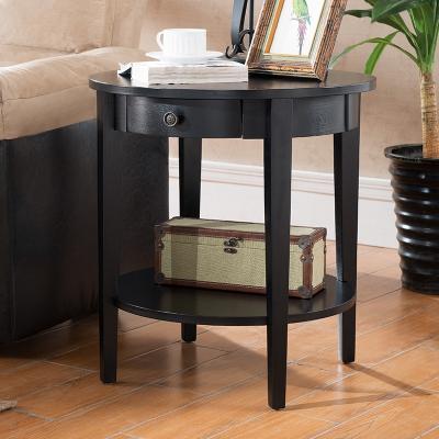 美式沙发边几边柜圆几角几实木小茶几床头柜小桌子边桌欧式小圆桌 艾菲尔色