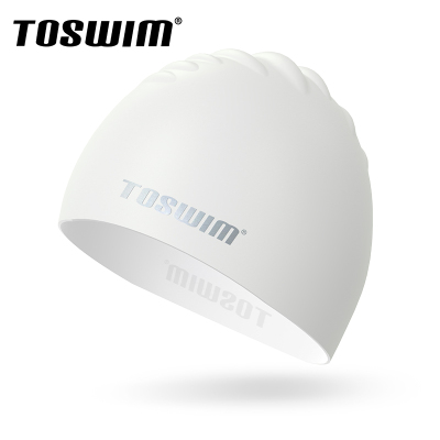 TOSWIM拓勝長發防水時尚可愛護耳游泳帽男女通用成人純色泳帽 硅膠泳帽