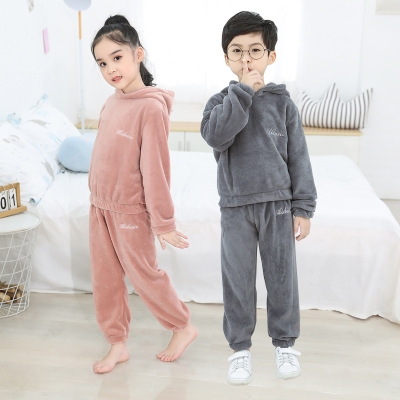 2019新款儿童暖暖裤套装珊瑚绒加绒加厚睡裤男女童冬季睡衣家居服