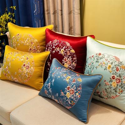 新中式刺绣抱枕沙发靠垫大靠背床头靠包中国风靠枕含芯定制套 金黄-花 60*60cm(枕套)