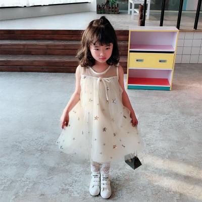 童装中小童夏季甜美纱网儿童背心裙女童宝宝可爱星星蓬蓬裙如图