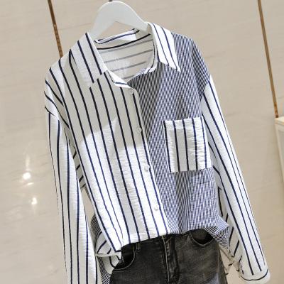 小樣傳奇 拼接條紋長袖襯衫女設計感小眾2020春季新款女裝韓版寬松襯衣bf上衣潮