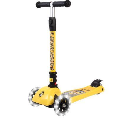 神偷奶爸小黃人(Minions)3-8歲一秒折疊三檔可調節高度搖擺車PU閃光寶寶踏板車兒童滑板車50kg承重80CM以上