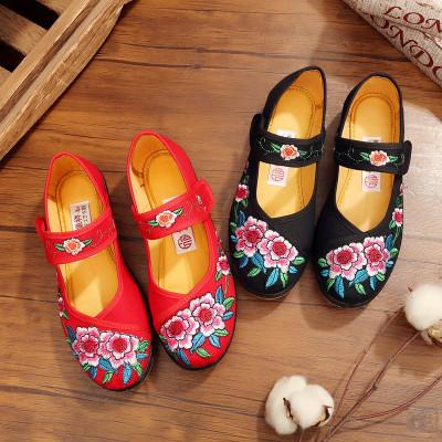搭啵兔老北京布鞋女春夏秋季平底单鞋妈妈鞋软底绣花鞋民族风跳舞舞蹈鞋