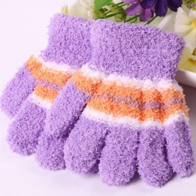 兮柔冬季加厚珊瑚绒儿童全指半指毛巾料手套保暖幼儿园男女宝宝手套