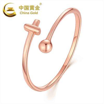 【中國黃金】18K金開口十字戒指 女士戒指 18K黃金戒指(定價)