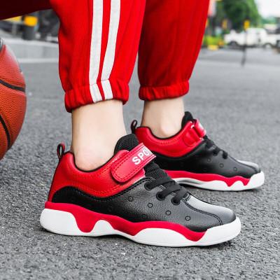 絳天 童鞋男韓版時尚潮流低幫兒童籃球鞋輕便拼色皮面青少年小朋友校園比賽球鞋中大童小鞋