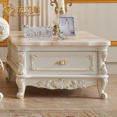 法莉娜 欧式实木大理石角几 储物柜客厅白色现代简约沙发边几 AC20