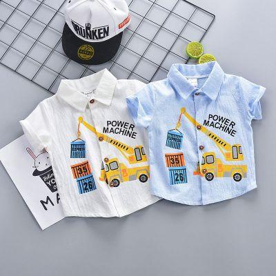 男童短袖襯衫潮童2020夏季薄款兒童挖機襯衫短袖寶寶襯衣上衣 諾妮夢