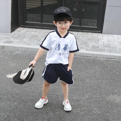 男童运动套装夏装短袖短裤两件套新款儿童篮球服宝宝洋气潮白