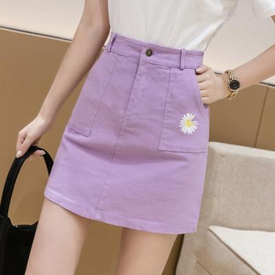班俏BANQIAO2020年夏季新款紫色牛仔裙高腰學生a字短裙女夏天半身裙仙女裙子