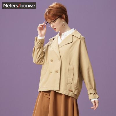 【1件2.7折:52.9】美特斯·邦威夾克女寬松繭型舒適春季裝甜美短外套潮新款