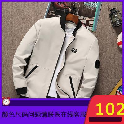 男士外套2019年秋季新款修身胖子大码夹克男装青年春季上衣服