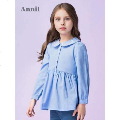安奈儿童装女童长袖上衣甜美绣花翻领春夏新款洋气褶摆上衣潮