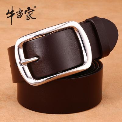 牛当家(CattleOWN)皮带男牛皮针扣腰带不锈钢扣裤带男韩版休闲NP1789