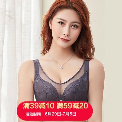 朗衣貝(Lang Yi Bei)2020新款文胸新品蕾絲薄杯款無鋼圈大碼文胸胖mm全罩杯胸罩聚攏內衣套裝女1589#