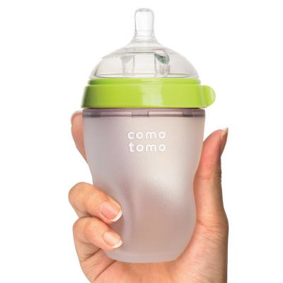 韩国原装进口 comotomo可么多么母婴幼儿童硅胶奶瓶瓶身全硅胶 250ml 绿色