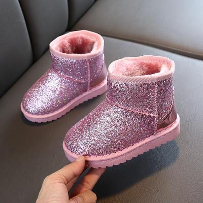 儿童雪地靴2019冬季新款男女童亮片棉鞋学生软底加绒靴子保暖短靴子