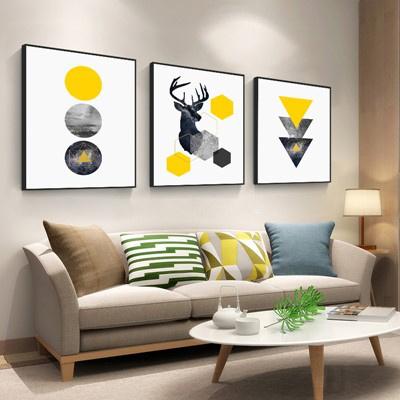北歐客廳裝飾畫沙發背景墻壁畫古達現代簡約三聯畫臥室床 花色 70*70【適合3.5米左右墻面】大氣木紋框【免打孔】整套價