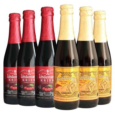 比利時進口 精釀啤酒 林德曼桃子*3/櫻桃*3啤酒組合裝250ml*6瓶