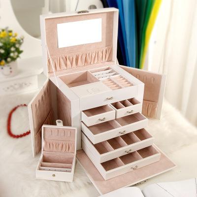 现货大容量首饰盒 五层皮革化妆收纳盒 珠宝首饰多层饰品收纳盒 白色