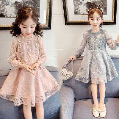 女童連衣裙春裝2020韓版新款中小童收腰裙子小女孩洋氣蕾絲公主裙
