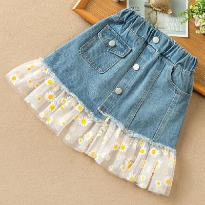 女童牛仔半身裙夏裝2020新款兒童裙子雛菊網紗裙夏季女孩牛仔短裙 娜蜜雨(NAMIYU)