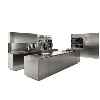 江蘇整體櫥柜定制全不銹鋼廚房廚柜定制開放式不銹鋼臺面現代簡約304不銹鋼整體櫥柜定制