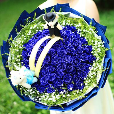 五二零 33朵藍色妖姬藍玫瑰花束預定 生日禮物鮮花速遞全國 北京南通東莞上海沈陽鄭州廣州花店同城送花