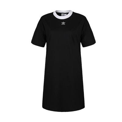 阿迪達斯三葉女新款運動休閑舒適透氣長款短袖連衣裙DH34