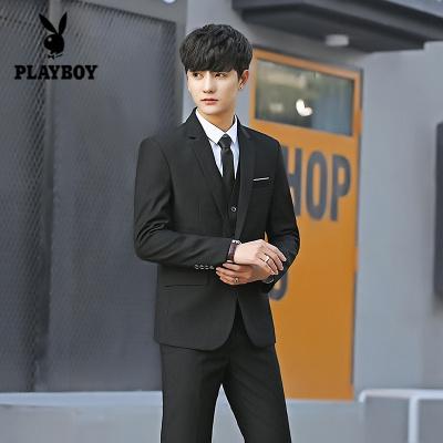 花花公子 ( PLAYBOY ICON )西服套裝男韓版修身新郎伴郎結婚禮服商務職業正裝學生西裝男套裝