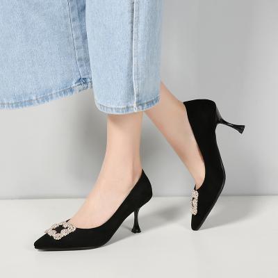 品點(Pandell)春季新款尖頭高跟鞋優雅時尚淺口低幫鞋單鞋婚鞋時尚女鞋