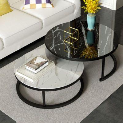 梦引 北欧风茶几简约现代轻奢客厅创意大理石玻璃ins小户型圆形茶几桌