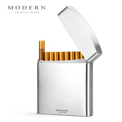 德国 创意男士绅士烟盒 不锈钢20支装香菸盒 金属烟具
