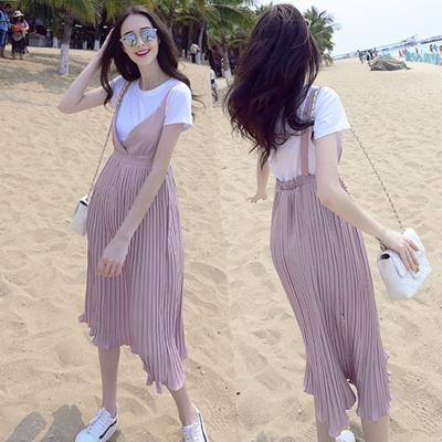 黔允 孕婦裝2020夏季新款時尚韓版中長款兩件套寬松舒適孕婦連衣裙套裝