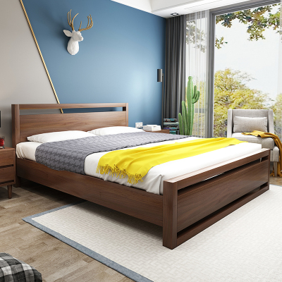 木帆家居(MUFAN-HOME) 床 雙人床 實木床 1.8米單人床1.5m婚床 北歐/宜家日式 高箱儲物木質床臥室家具