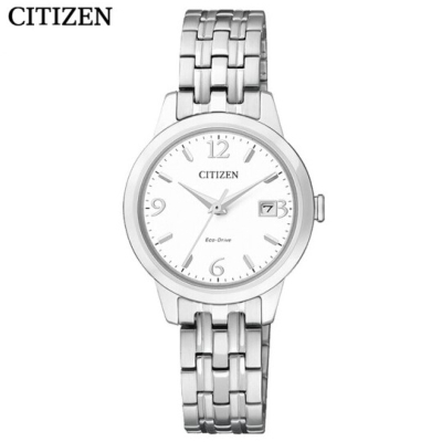 國行 西鐵城(CITIZEN)手表 光動能不銹鋼帶折疊扣情侶表女士腕表EW2230-56A