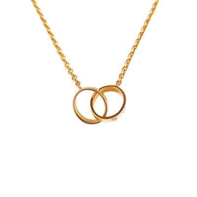 【正品二手95新】卡地亞(CARTIER)B7212400 LOVE 18K黃金 雙環LOVE 吊墜 項鏈 含盒含證書