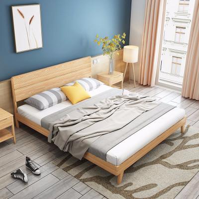 【品牌清倉】A家家具 床 雙人床 北歐床  日式實木床臥室家具1.5米1.8米主臥單人床雙人白蠟木婚床木質 DH102