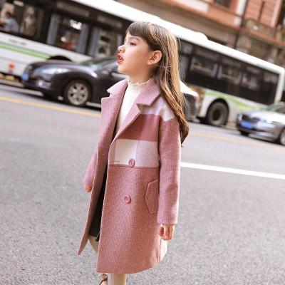 女童毛呢外套2019新款秋冬装韩版洋气中大儿童装加厚格子呢子大衣威珺