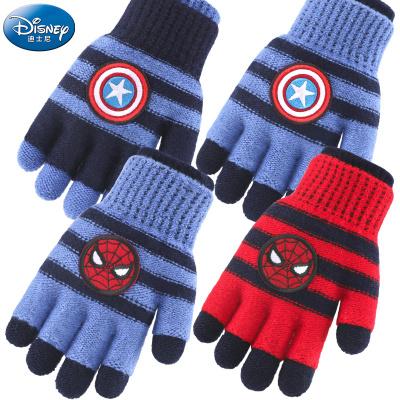 迪士尼儿童手套冬保暖针织五指全指小孩加厚可拆分针织男童学生毛线全指蜘蛛侠宝宝